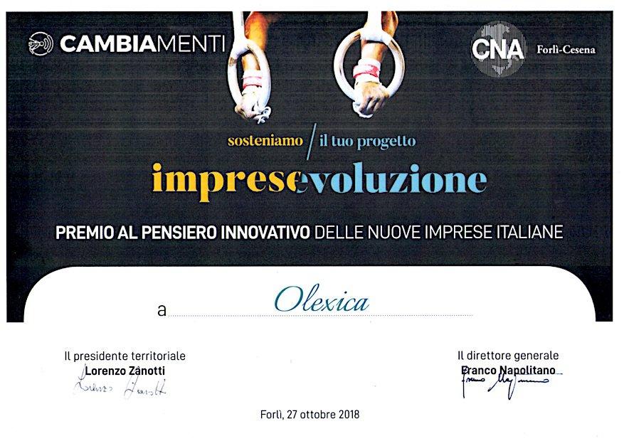 Certificato CNA Premio Cambiamenti 2018